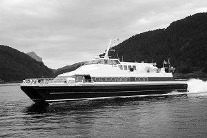Passenger boat. Norwegian fjords