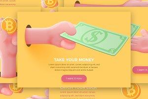Vector Bitcoin cartoon hands set