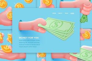 Vector set - Dollar cartoon hands