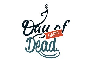Happy day of dead flat logo sign