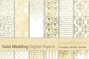 Gold Wedding Digital Papers