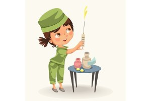 Cartoon nurse with syringe poster