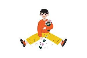 Boy Picking Flowers, Kids Spring or