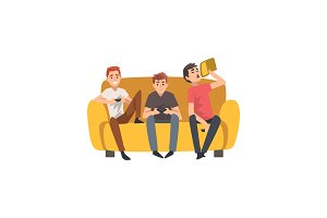 Men Sitting on Sofa And Playing