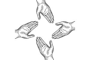 Open four hands palm gesture vector