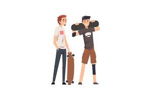 Men with Skateboards, Male Friends
