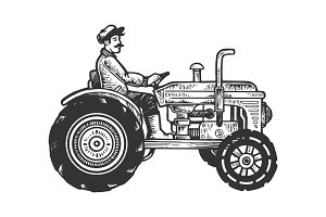 Agricultural tractor engraving