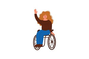 Disabled Young Woman in Wheelchair