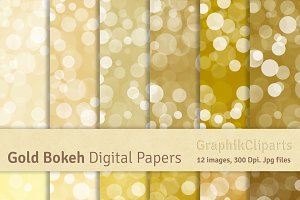 Gold Bokeh Digital Papers