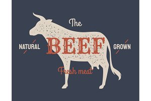 Retro styled label of butcher meat