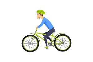 Men riding bicycle. With bicycle and