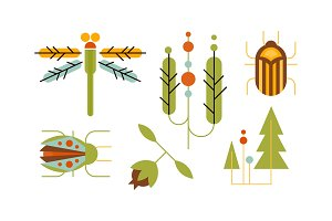 Collection of insects and trees