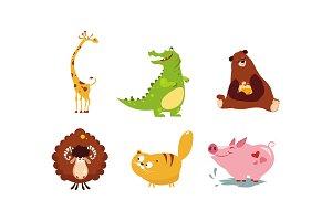 Cute funny animals set, giraffe