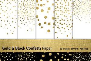 Gold & Black Confetti: Png+Jpg
