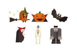 Halloween icons set, witch, pumpkin