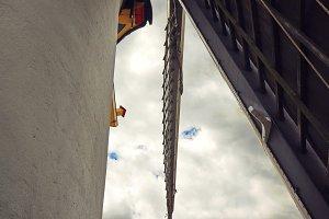Dutch flag on a windmill blade