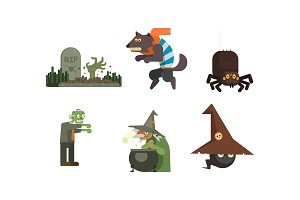 Halloween icons set, grave with