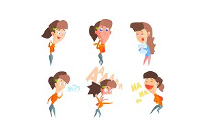Girl showing different emotions set