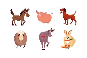 Cute cartoon farm animals set