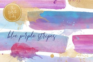 Watercolor Stripe Art Blue & Purple