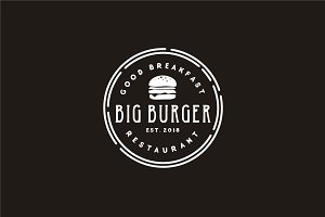 Hipster Retro Burger Stamp logo