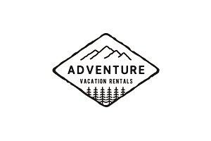 Hipster Mountain Adventure Logo