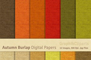 Autumn Burlap Digital Papers