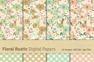 Floral Rustic Digital Papers