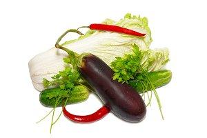 Fresh vegetables isolated on white.