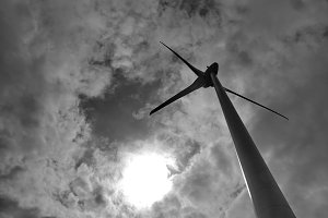 Wind Turbine under the cloudy sky
