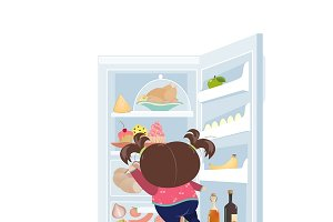 Girl taking cake from refrigerator