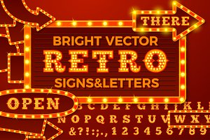 Vector Retro style light letters