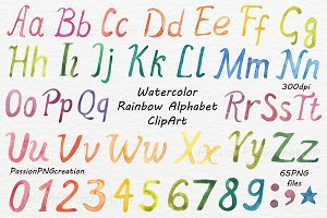 Watercolor Alphabet ClipArt