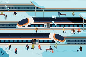 Railway station illustration