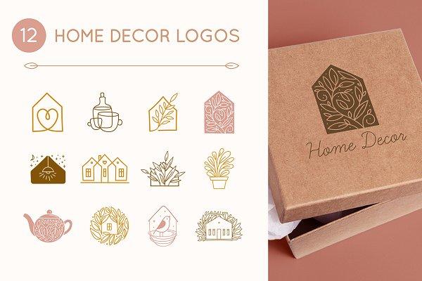 12 Home Decor Logos Creative Illustrator Templates Creative Market