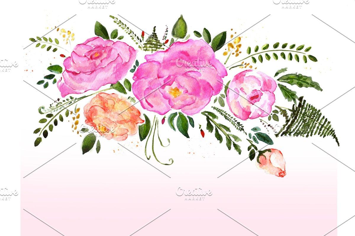Watercolor Flowers Bouquet Custom Designed Illustrations