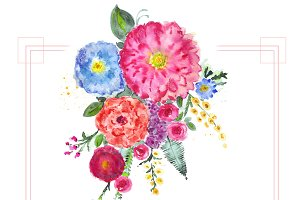 Watercolor flowers bouquet
