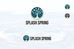Circle Water Spring Splash Tree Logo