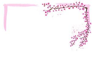 Watercolor sakura branches