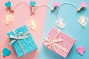 heart-shaped garlands and gifts