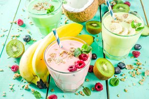 Refreshing milkshakes or smoothies
