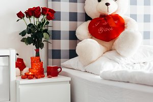 Valentine's Day Bed Vertical Photo