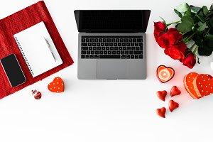 Valentine's Day Laptop Roses Flatlay