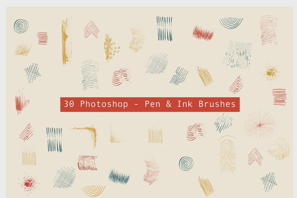 30 Pen & Ink Photoshop Brushes ~ Photoshop Add-Ons