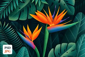 Illustration of Tropical Flowers