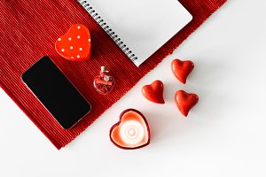Valentine's Day Hearts and Notebook