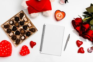 Valentines Day Flatlay with Notebook