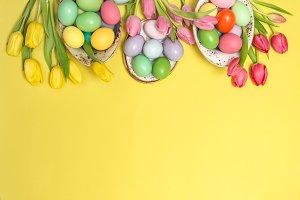 Easter eggs decoration tulip flowers
