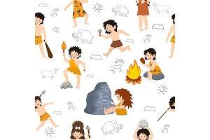 Caveman kids vector primitive