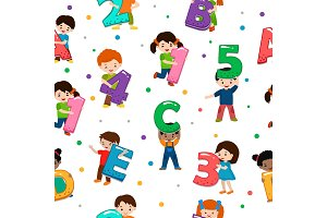 Kids alphabet vector children font